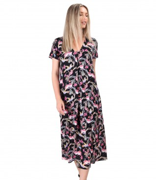 Rochie midi din viscoza imprimata cu colibri si flori