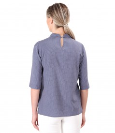 Bluza din viscoza imprimata cu picouri si guler rotund