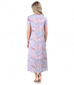 Rochie midi din serj de viscoza imprimata cu motive paisley