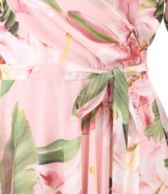 Rochie din voal imprimat cu flori supradimensionate