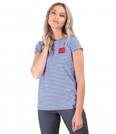 Bluza din jerse elastic cu dungi