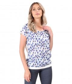 Bluza cu fata din voal imprimat digital