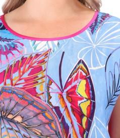 Bluza cu fata din tesatura naturala cupro cu imprimeu digital