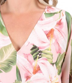 Rochie fluture din voal imprimat cu motive florale