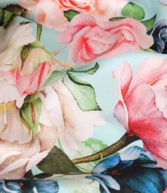 Rochie lejera din matase naturala plina satinata cu motive florale