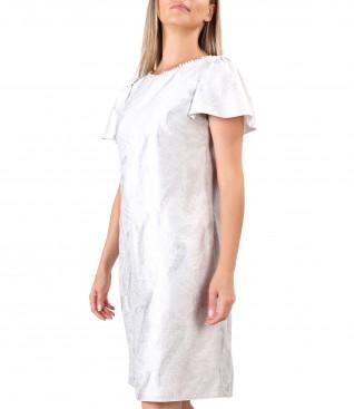 Rochie din tesatura brocata cu in cu perle la decolteu
