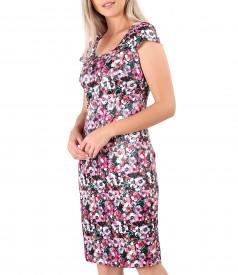 Rochie din satin de bumbac elastic cu flori