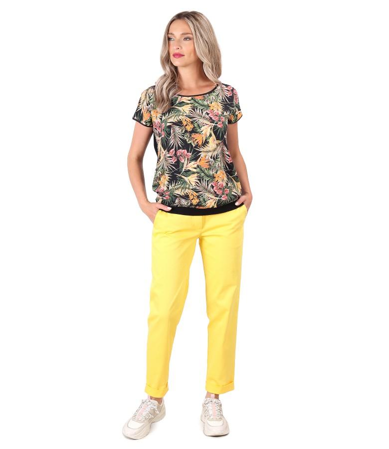 Pantaloni din bumbac texturat cu bluza cu fata imprimata cu flori