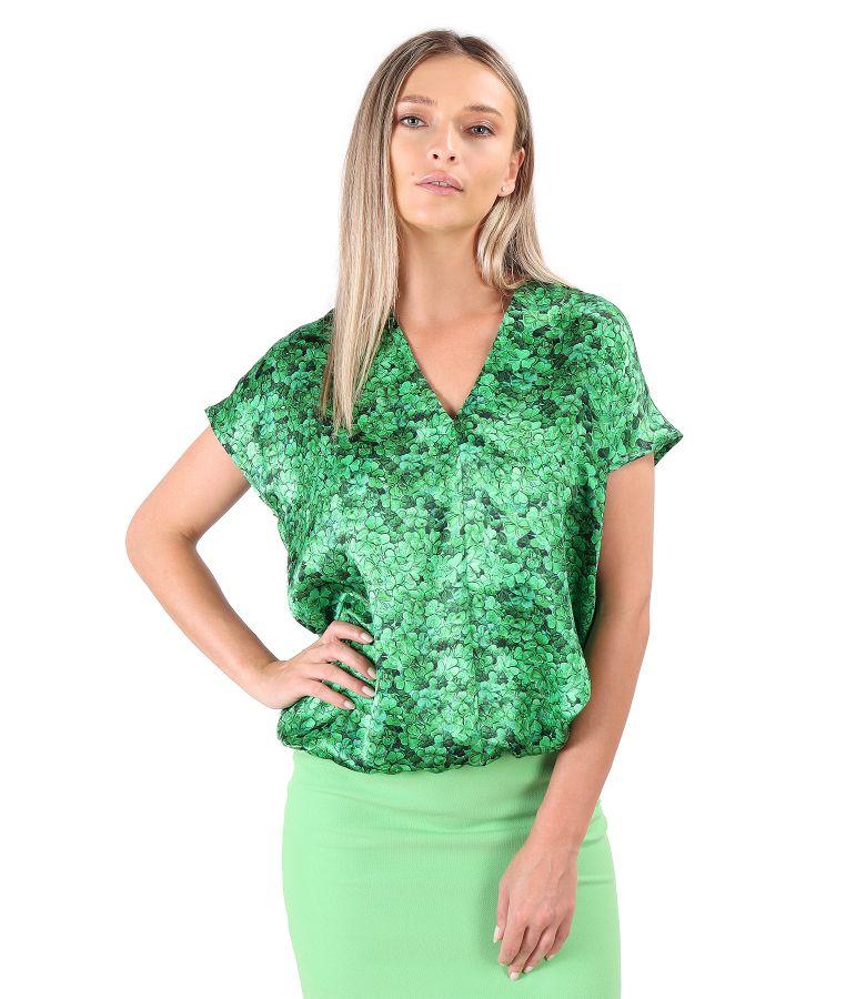 Bluza lejera din matase naturala imprimata cu motive florale