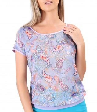 Bluza cu fata din serj de viscoza imprimata cu motive paisley
