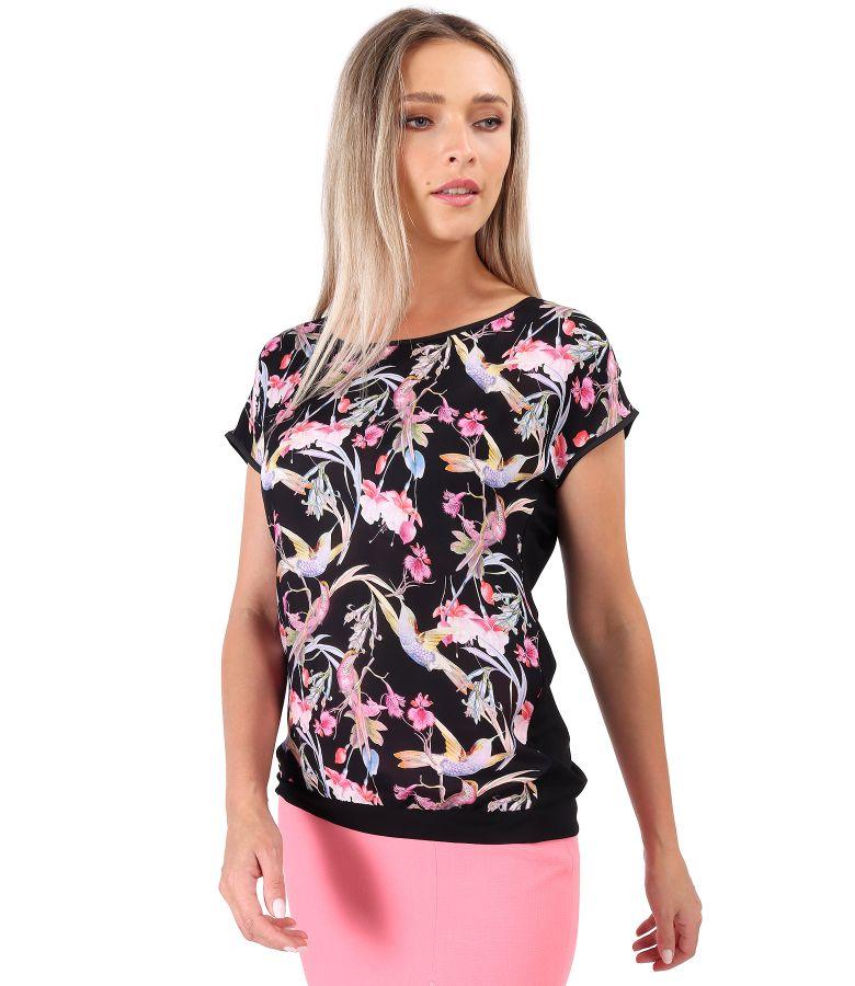 Bluza cu fata din serj de viscoza imprimata cu colibri si flori