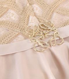 Rochie de seara midi cu corsaj din dantela cu paiete