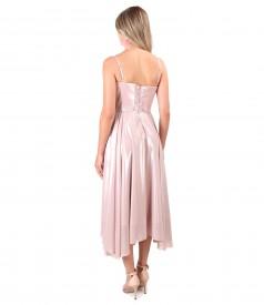 Rochie de seara cu corset si fusta din voal sidefat