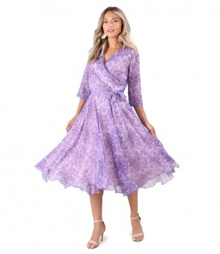 Rochie eleganta din voal cu funda in talie