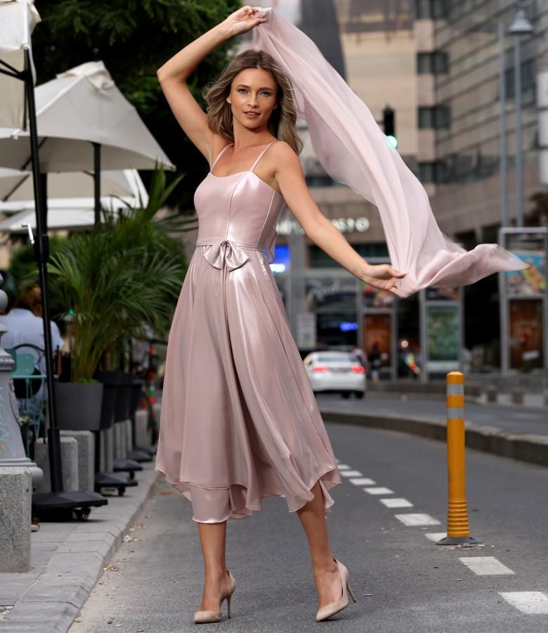 Sal din voal de matase naturala cu rochie de ocazie
