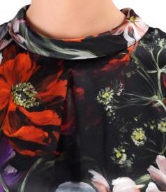 Bluza din matase naturala imprimata cu motive florale