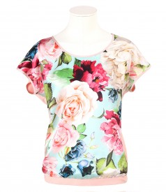 Bluza cu fata din matase naturala imprimata flori