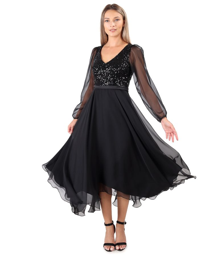 Rochie din voal cu corsaj din paiete flexibile