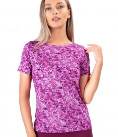 Bluza din jerse elastic imprimat cu motive florale
