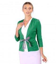 Bluza din jerse legata cu cordon din rips