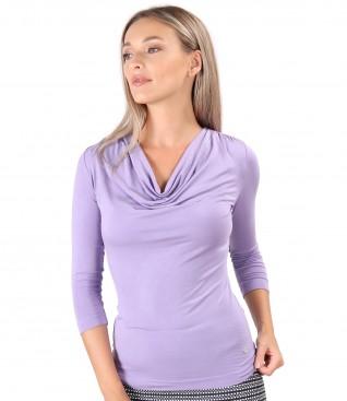 Bluza din jerse elastic de viscoza cu decolteu in falduri