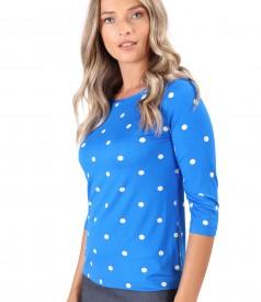 Bluza din jerse elastic imprimat cu buline