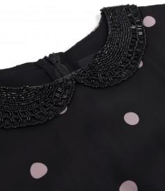 Rochie din voal imprimat cu buline