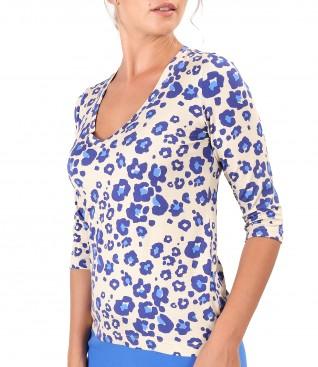 Bluza din jerse elastic de viscoza imprimata