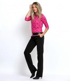 Bluza din jerse cu buline cu pantaloni drepti