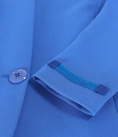 Sacou din stofa elastica cu pasmanterie la terminatii