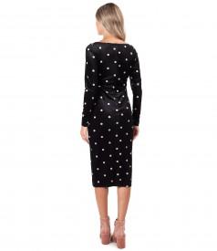 Rochie eleganta din catifea elastica imprimata cu buline
