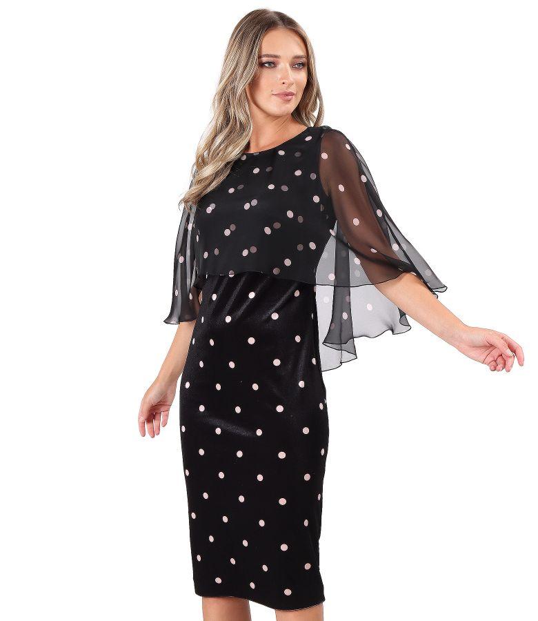 Rochie din catifea cu buline cu pelerina din voal imprimat cu buline