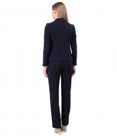 Costum dama office cu pantaloni si sacou din stofa elastica