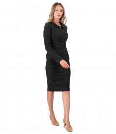 Costum dama office cu fusta si sacou din bumbac gros brocat