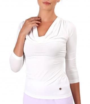 Bluza din jerse elastic cu decolteu in falduri