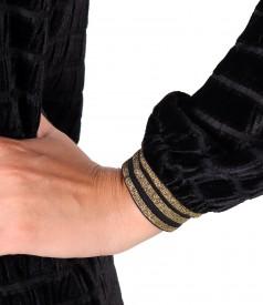 Rochie din catifea brocata in dungi cu elastice aurii