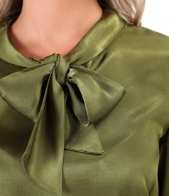 Bluza din saten de viscoza cu guler tip esarfa