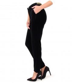 Pantaloni din catifea elastica neagra cu elastic in talie