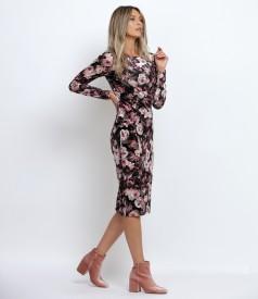 Rochie din catifea elastica imprimata cu motive florale