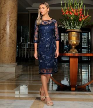 Rochie de seara din dantela cu paiete cu motive florale