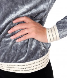 Bluza eleganta din catifea elastica cu fir metalic si elastic decorativ