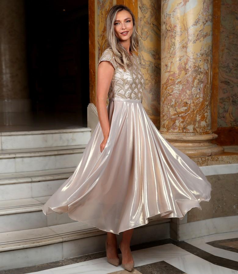 Rochie de seara midi cu fusta din voal sidefat