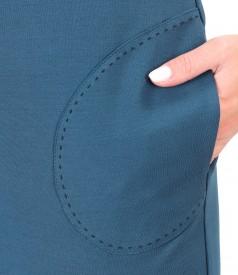 Rochie din jerse elastic gros cu buzunare laterale