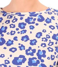Bluza cu maneci lungi din viscoza imprimata