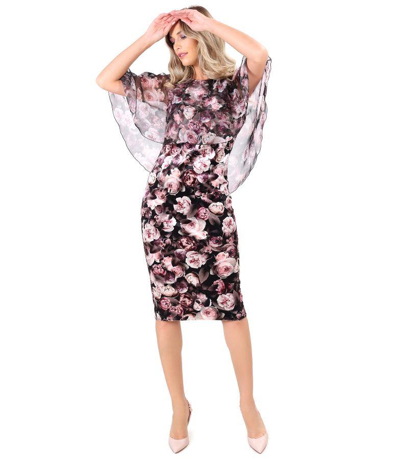 Rochie din catifea imprimata cu motive florale cu pelerina din voal imprimat