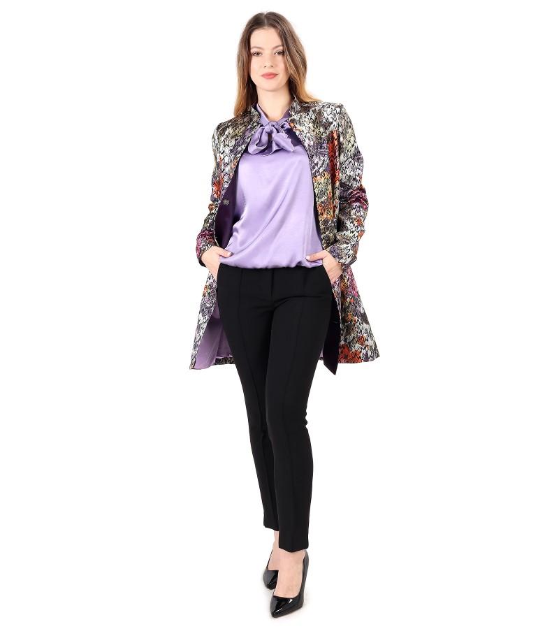 Tinuta eleganta cu jacheta din brocart si bluza din saten de viscoza